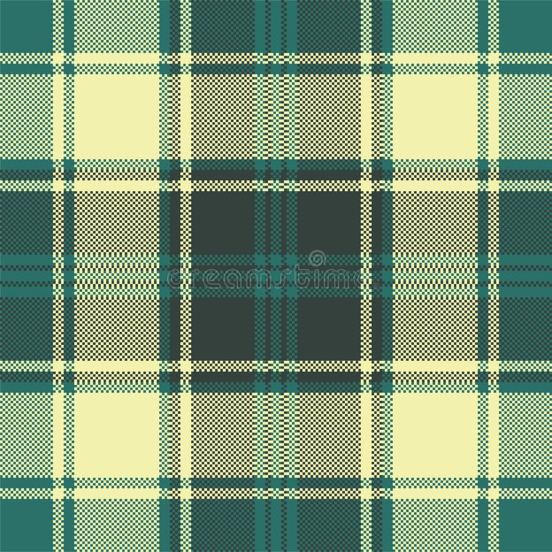 Green yellow plaid check pixel seamless pattern royalty free illustration