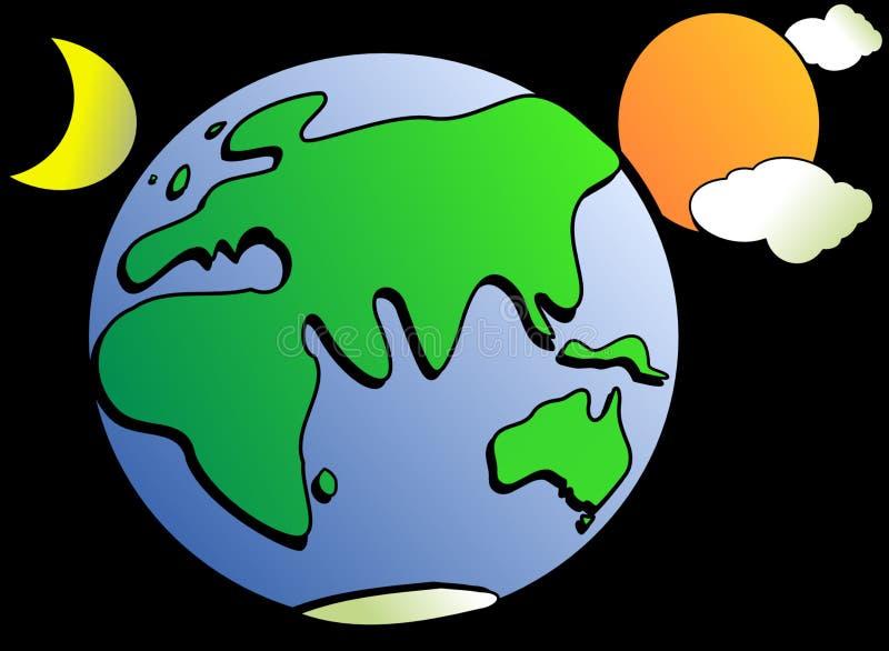 Green, Yellow, Planet, Cartoon royalty free stock image