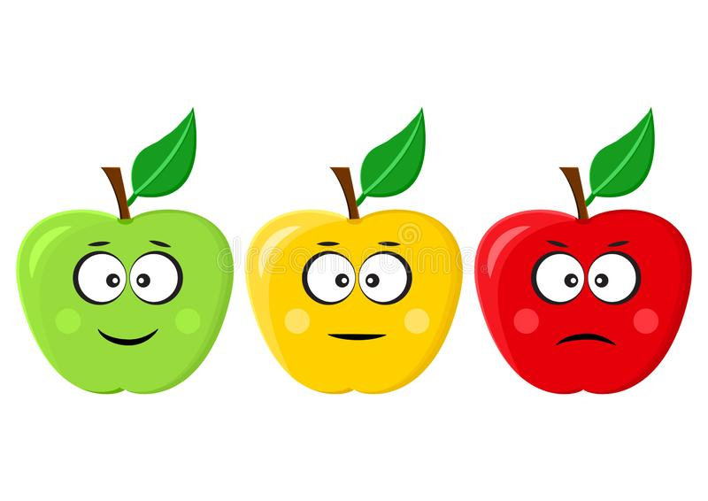 Green, yellow, red apples emoticons positive, neutral and negative. Vector illustration. Green, yellow, red apples emoticons positive, neutral and negative stock illustration