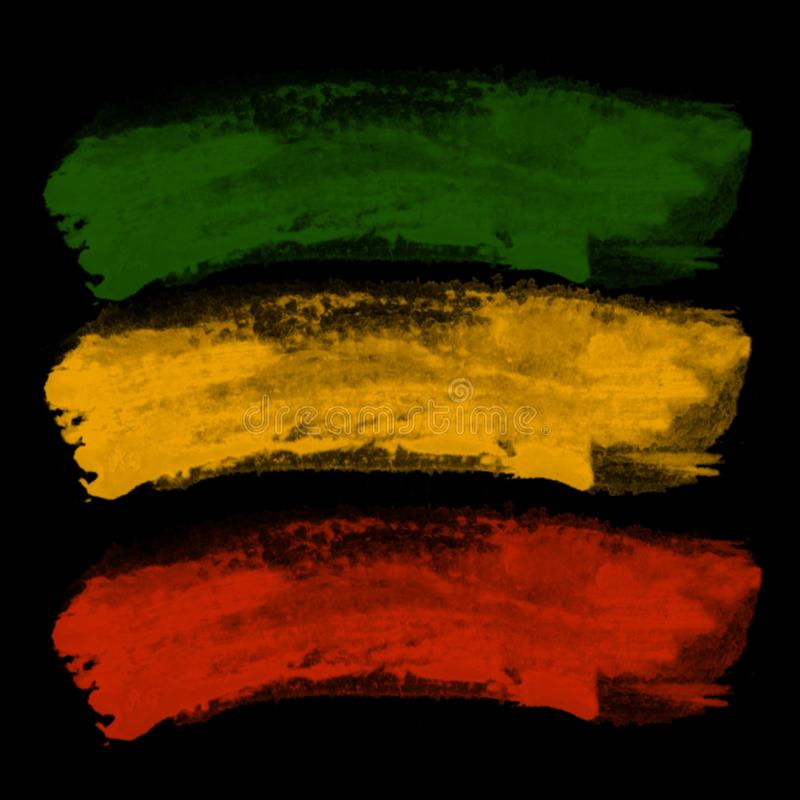 Green yellow red brush texture, reggae background concept royalty free illustration