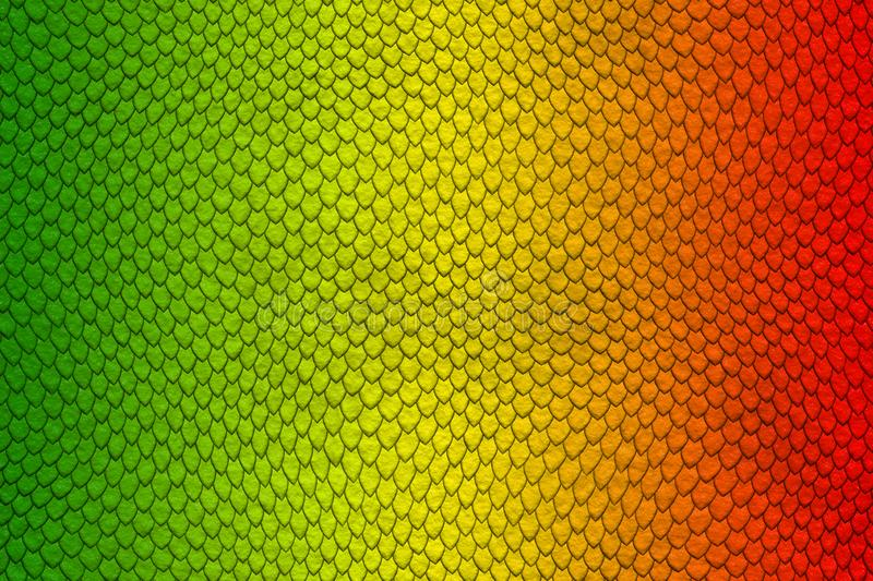 Green, yellow and red colored snake skin pattern royalty free illustration
