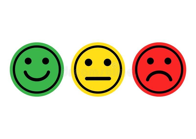 Green, yellow, red smileys emoticons icon positive, neutral and negative. Vector. Green, yellow, red smileys emoticons icon positive, neutral and negative royalty free illustration