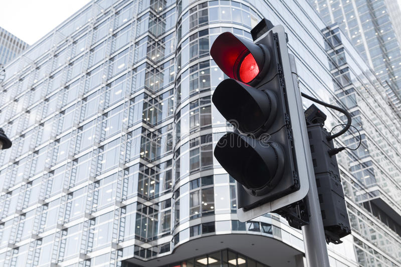 Green, Yellow and Red Traffic Light in the London city stock photo