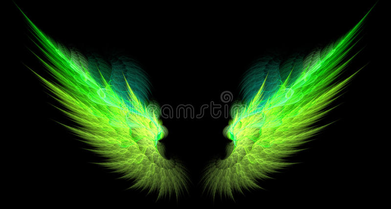 Green and yellow sharp wings vector illustration