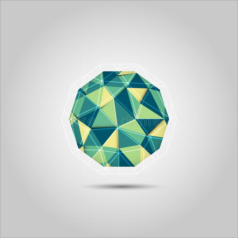 Green and Yellow sphere mosiac polygon shape vector icon stock illustration