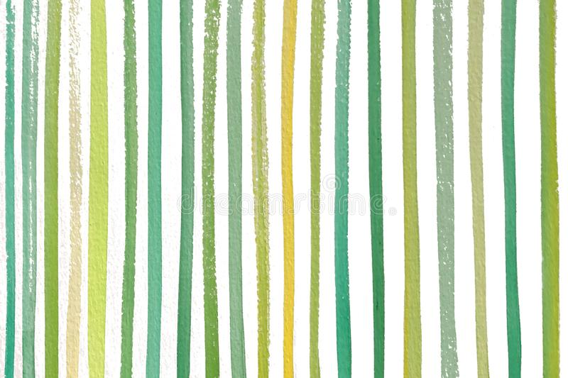 Green Yellow Spring Natural Colored Stripes Hand Painted Watercolor Pattern stock photos