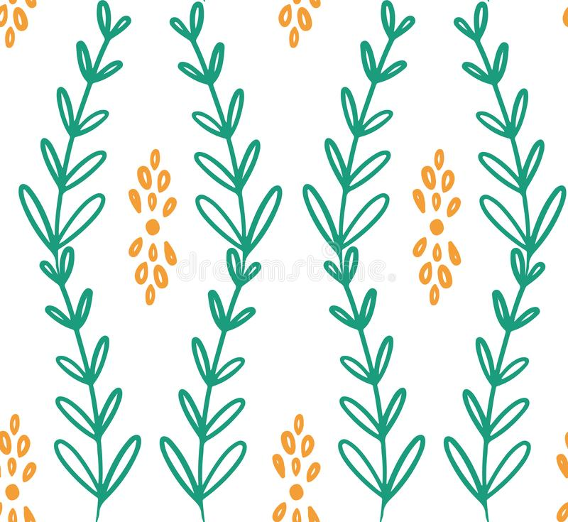 Green yellow vine flower seamless pattern stock illustration
