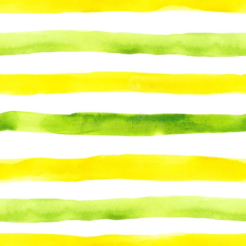 Green and yellow watercolor stripes seamless pattern on white background. Bright abstract hand painted repeat print. Bright watercolor striped seamless pattern royalty free stock images
