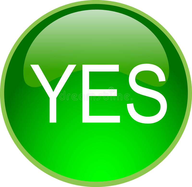 Green Yes Button Stock Illustration. Illustration Of Icon