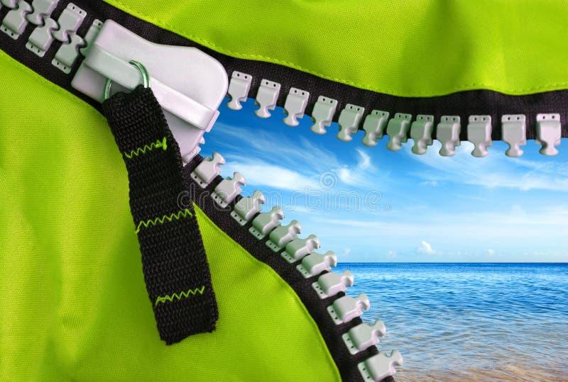 Green Zipper stock image