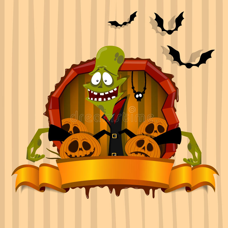 The Green Zombie On The Halloween Theme Royalty Free Stock Image