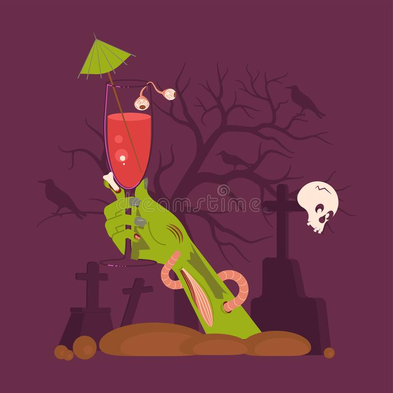 Green Zombie Hand holding a Cocktail vector illustration