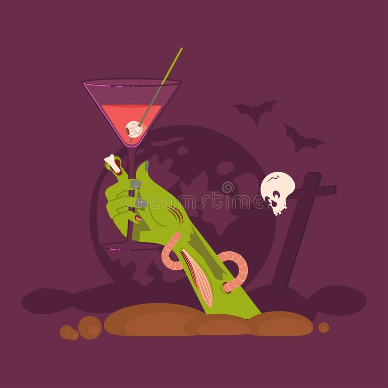 Green Zombie Hand holding a Cocktail. Rising Out Of A Grave Scary and  on cemetery Halloween background. Flat Art Vector illustration royalty free illustration