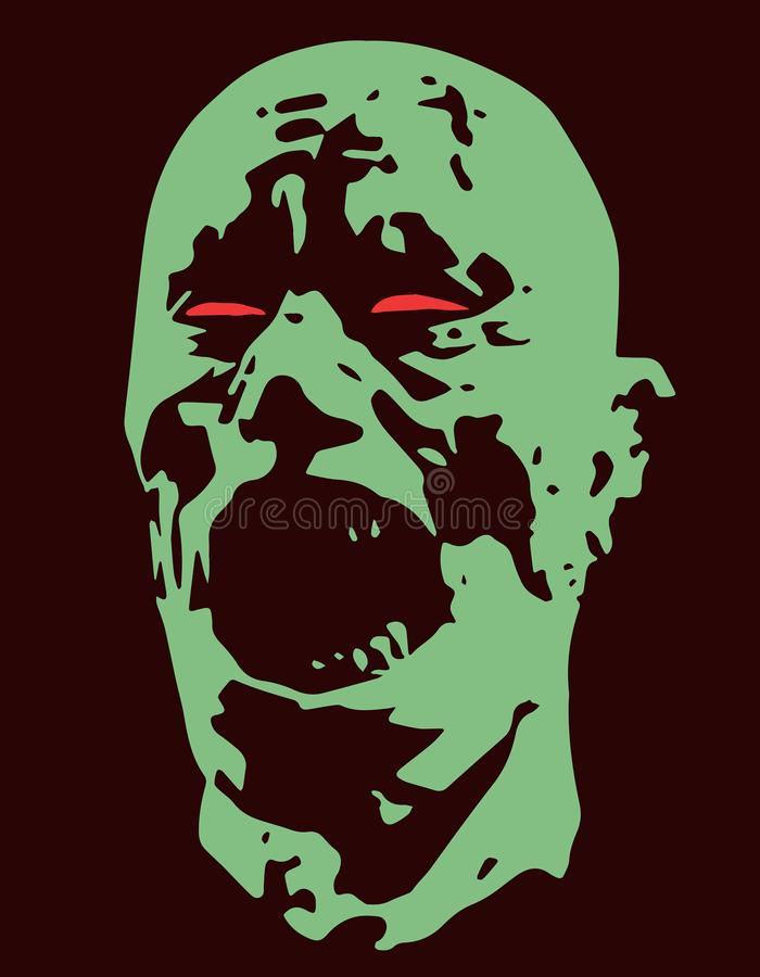 Green zombie screams head. Vector illustration. Scary character face. The horror genre vector illustration
