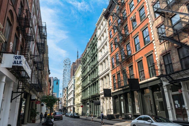 Greene街在更低的曼哈顿,纽约 库存照片