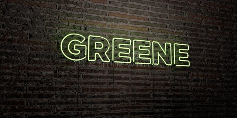 GREENE - sinal de néon realístico no fundo da parede de tijolo - 3D rendeu a imagem conservada em estoque livre dos direitos ilustração do vetor