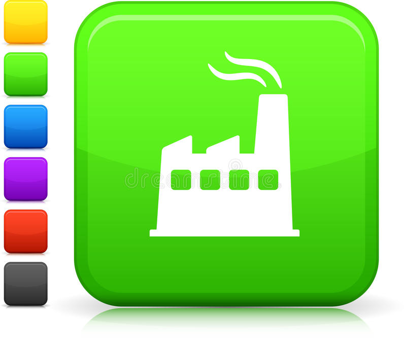 Greener power icon on square internet button stock illustration