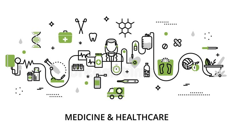 Greenery concept of medicine and healthcare. Modern flat thin line design vector illustration, greenery concept of medicine and healthcare, first aid, medical stock illustration