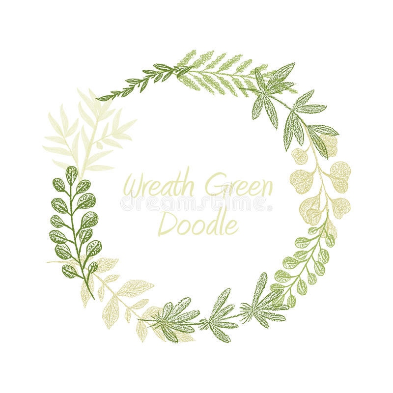 Greenery floral circle wreath vector stock illustration