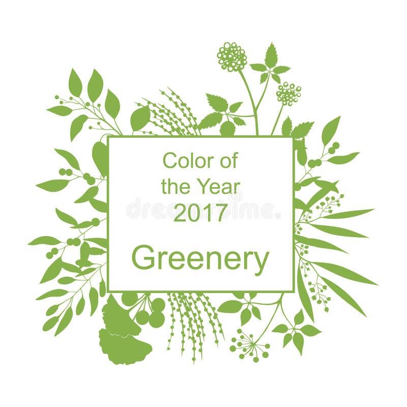 Greenery modny tło z ramą ilustracja wektor