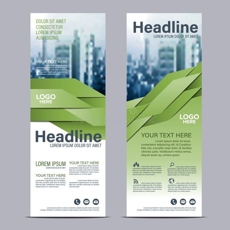 Greenery Roll up layout template mock up. flag flyer banner backdrop design. Vector illustration background royalty free illustration