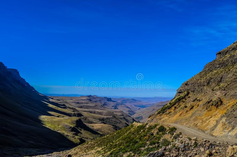 Greenery in Sani pass under blue sky near Lesotho South Africa b royalty free stock image