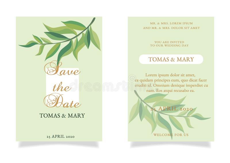 Greenery save the date invitation cards royalty free illustration