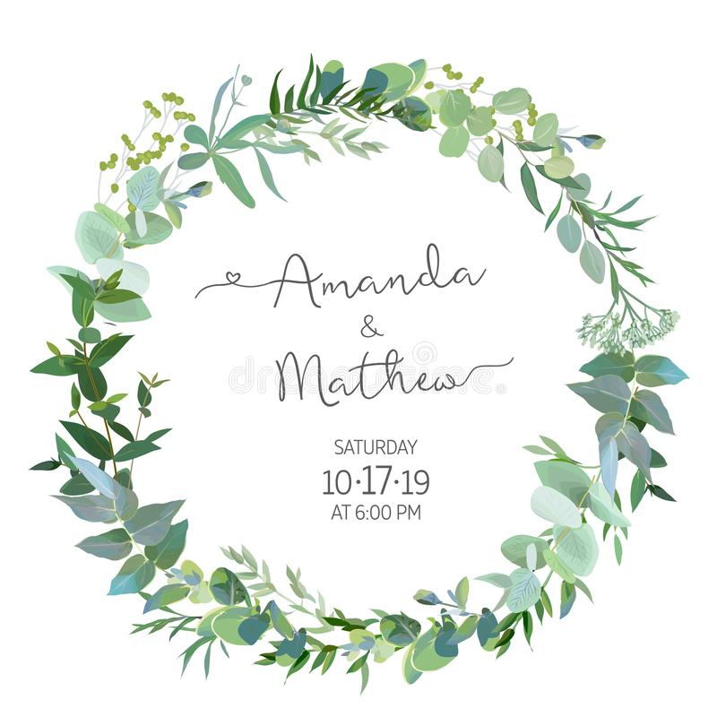 Greenery selection vector design round invitation frame stock illustration