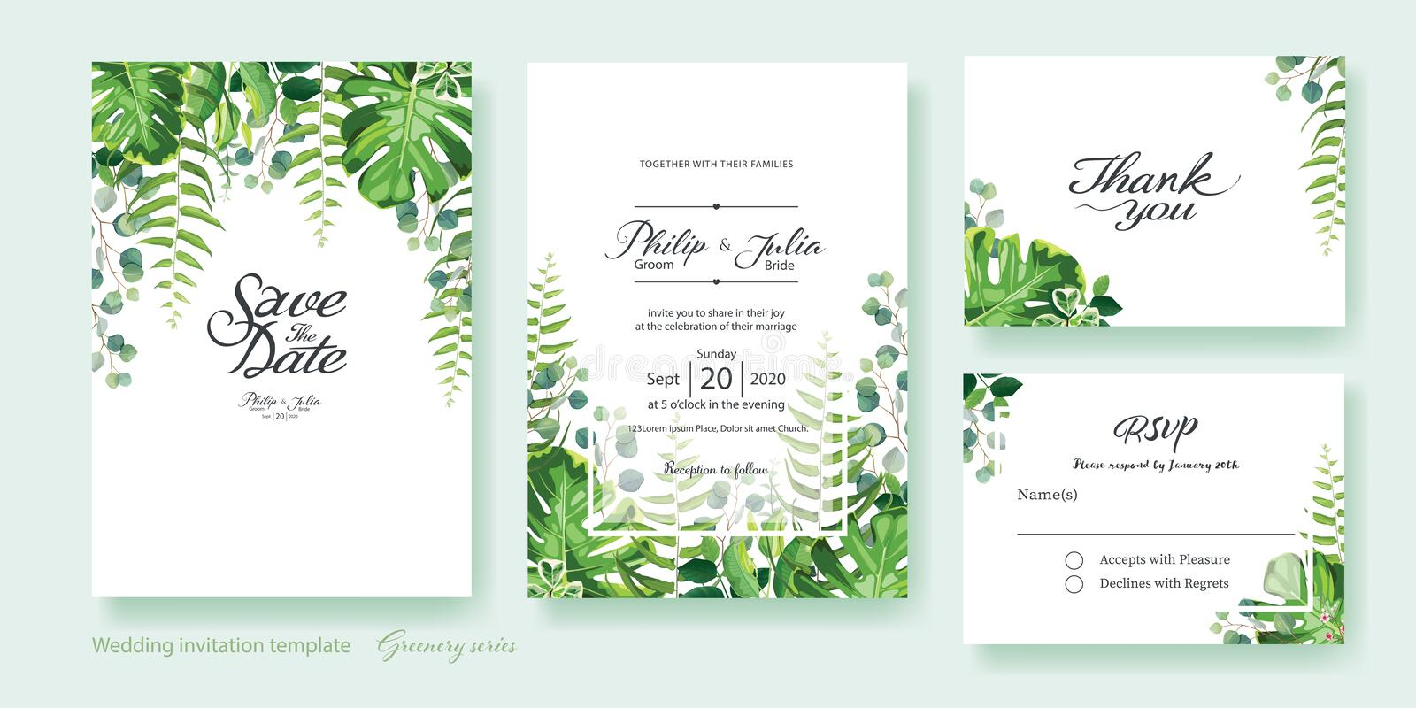 Greenery wedding Invitation, save the date, thank you, rsvp card Design template. Vector. Summer leaf, silver dollar eucalyptus,. Olive leaves, fern, Wax flower vector illustration