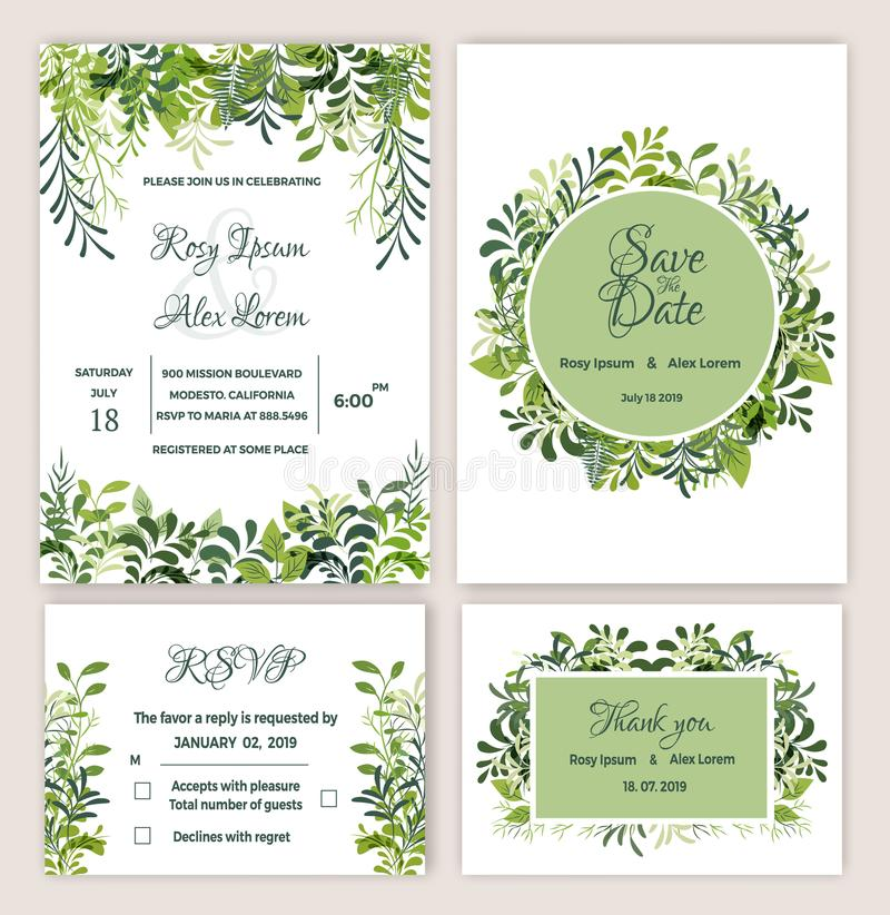 Greenery Wedding Invitation Suite Printable. royalty free illustration
