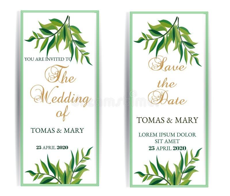 Greenery wedding invitation template set. Printable wedding invites. Rustic wedding invitations cards. Garden wedding templates royalty free illustration