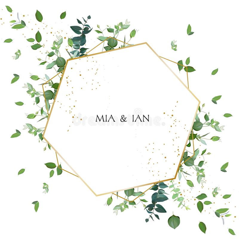Greenery wedding invitation. Watercolor style. royalty free illustration