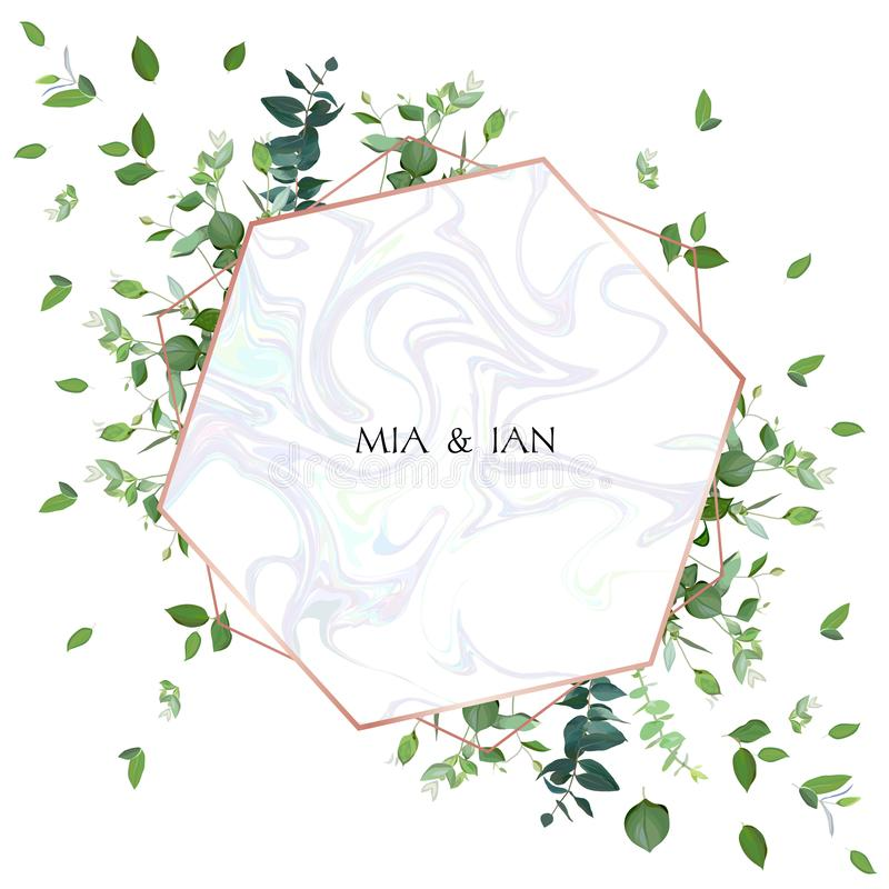 Greenery wedding invitation. Watercolor style. stock illustration