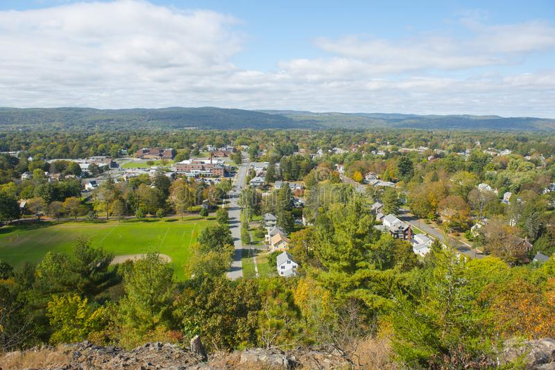 Greenfield aerial view, Massachusetts, USA. Greenfield aerial view in fall from Poet`s Seat Tower on Rocky Mountain Park, Greenfield, Massachusetts, USA stock photo