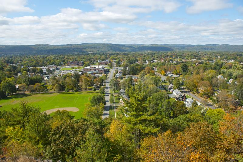 Greenfield aerial view, Massachusetts, USA. Greenfield aerial view in fall from Poet`s Seat Tower on Rocky Mountain Park, Greenfield, Massachusetts, USA royalty free stock photo