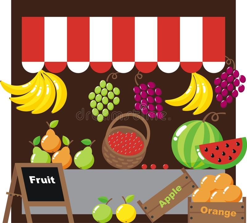 Greengrocer. With berries and fruits stock illustration