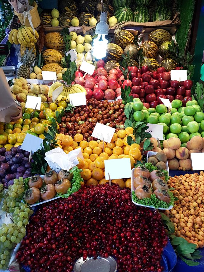 Greengrocer in Fısh Market Istanbul Turkey. Fresh, Healty Vegetables and Fruits stock image