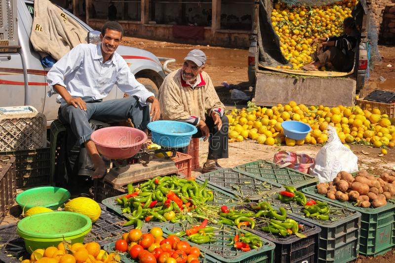 Greengrocer. Market. Skoura. Morocco. royalty free stock photos