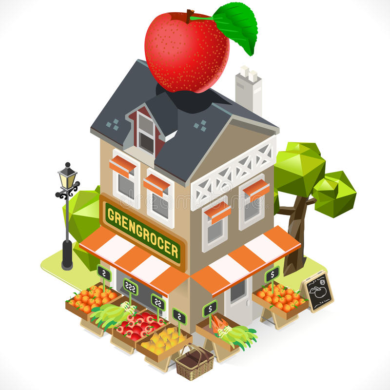 Greengrocer Shop City Building 3D Isometric vector illustration