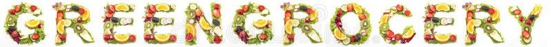 Greengrocery слова сделанный из салата и плодоовощей стоковое изображение rf