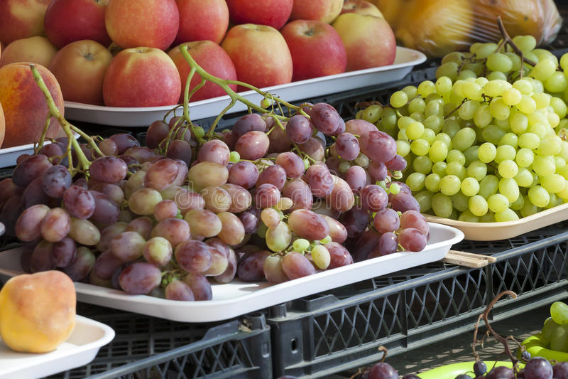 Greengrocery med nya frukter och grönsaker royaltyfria bilder