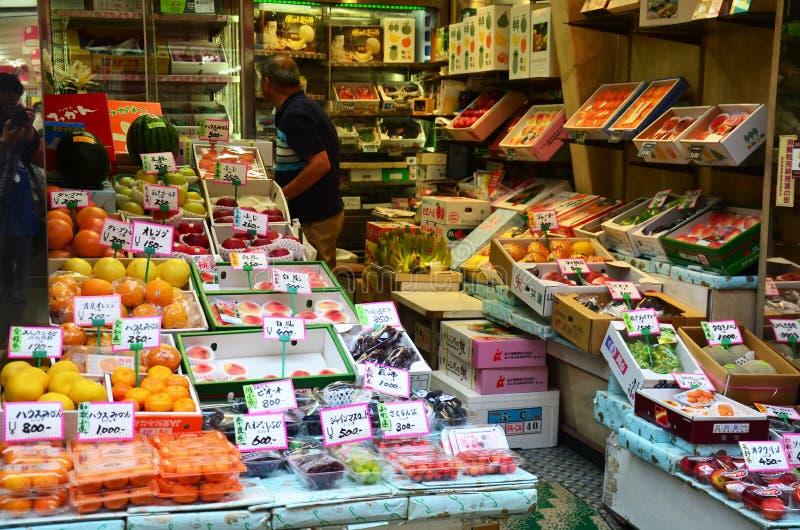 Greengrocery oder Gemüse-Frucht-Shop stockbild