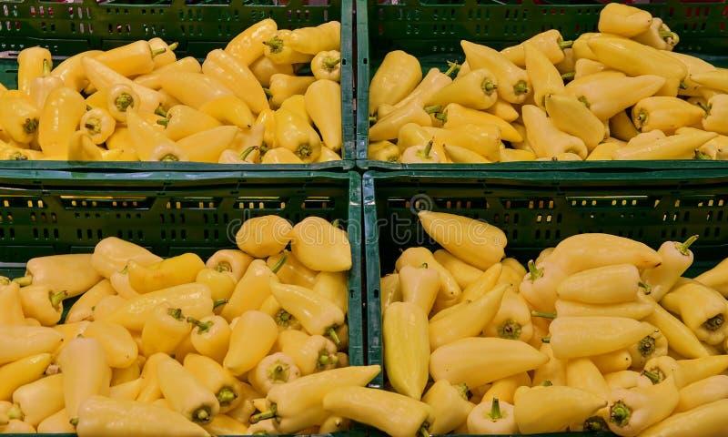 Greengroceryavsnitt - peppar, paprika på detaljisten i Europa Greengrocery i lokal supermarket arkivfoton