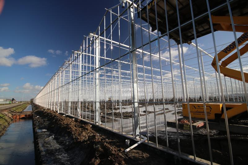 Greenhouse construction in progress in Moerkapelle where a rose nursery is builded. royalty free stock photography