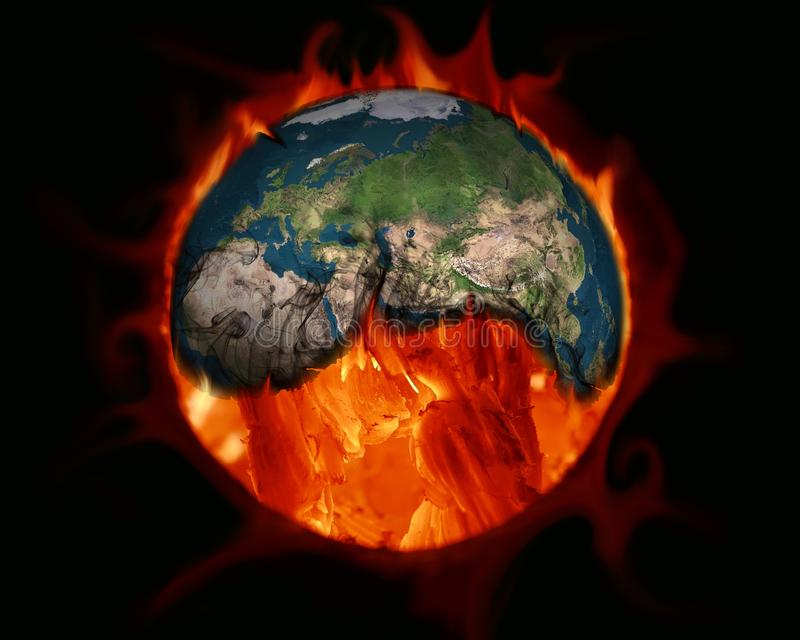 Greenhouse effect. Earth burned by fossil fuels royalty free illustration
