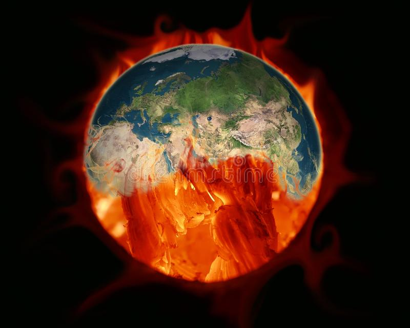 Greenhouse effect. Earth burned by coal combustion. Elements of stock illustration
