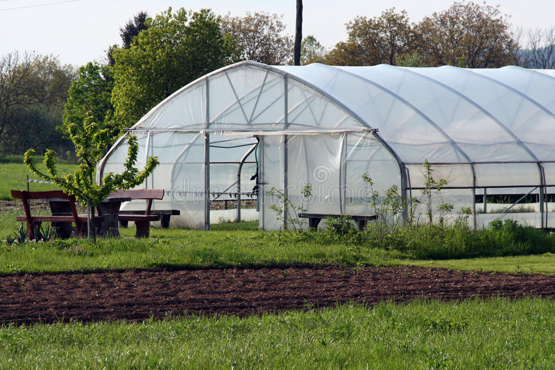 Greenhouse on the field royalty free stock photos