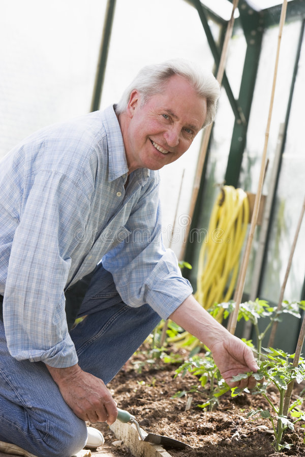 greenhouse holding man shovel smiling στοκ φωτογραφίες