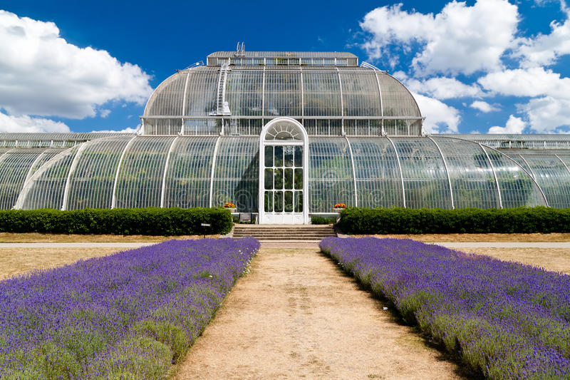 Greenhouse at Kew Gardens in London. On a beautiful summer day stock photography