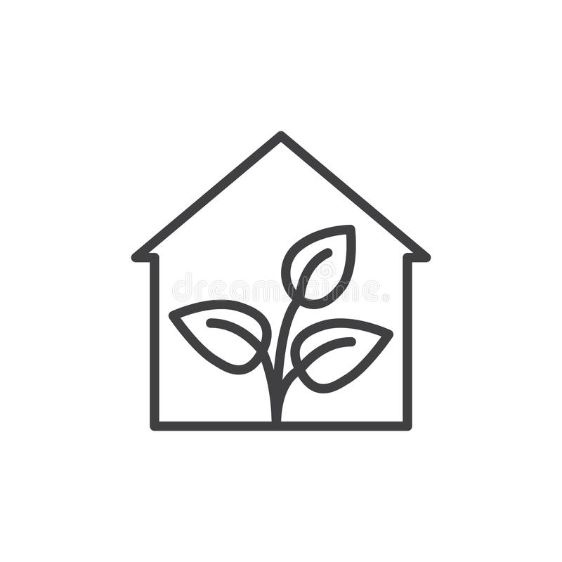 Greenhouse line icon, outline vector sign, linear style pictogram isolated on white. Symbol, logo illustration. Editable stroke. Pixel perfect stock illustration